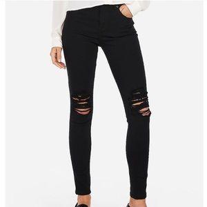 Express black high rise legging jean distressed 18